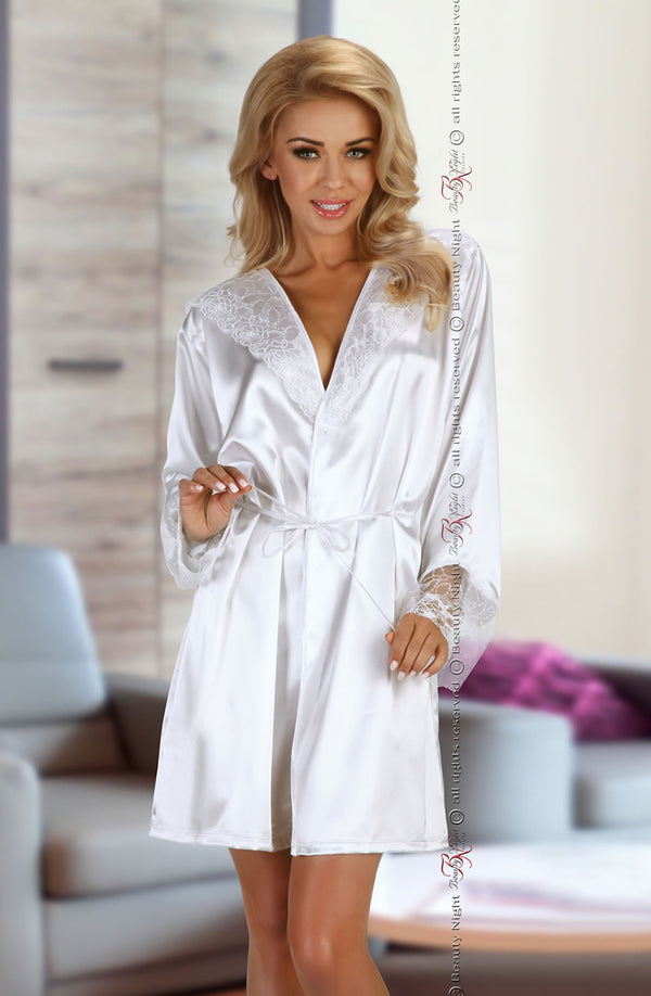 White Satin Robe With Lace Detailing & Matching Thong by Beauty Night only 89.99 at girls.co.uk