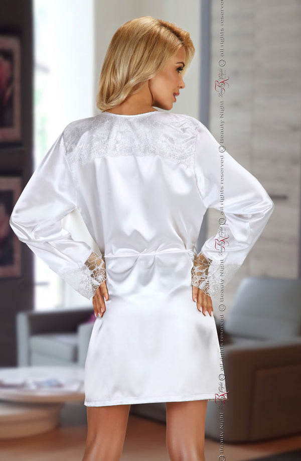 White Satin Robe With Lace Detailing & Matching Thong
