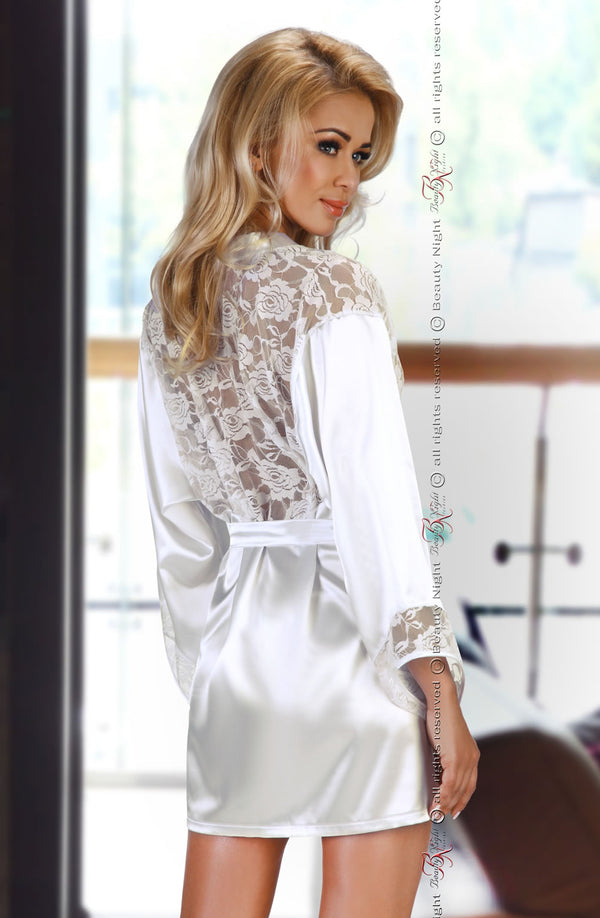 Delicate White Satin Robe With Translucent Floral Lace