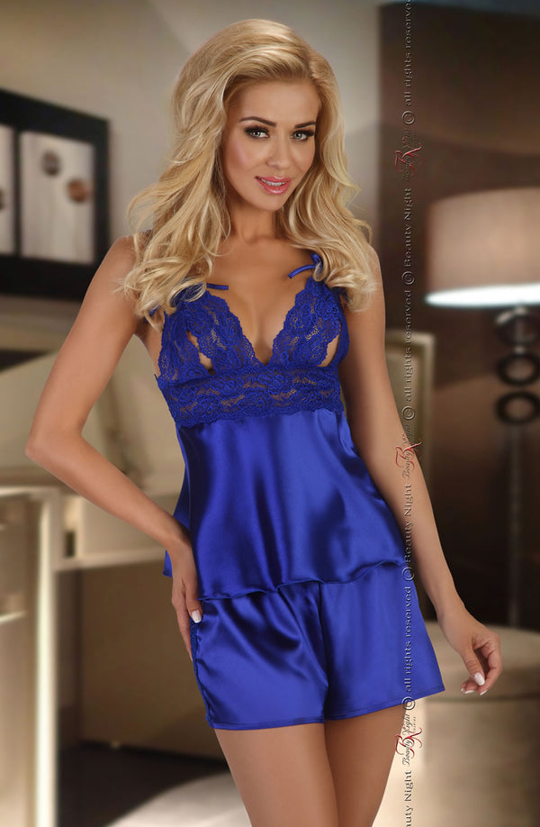Satin & Lace 2 Piece Set In Elegant Sapphire by Beauty Night only 59.99 at girls.co.uk