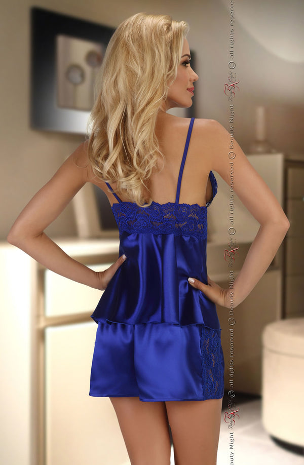 Satin & Lace 2 Piece Set In Elegant Sapphire by Beauty Night only  at girls.co.uk