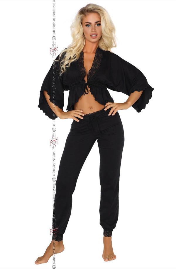 Sexy Black Cotton Lounge Wear With Floral Lace by Beauty Night only 109.99 at girls.co.uk