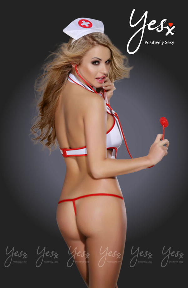3 Piece Full Naughty Nurse Costume & Accessories