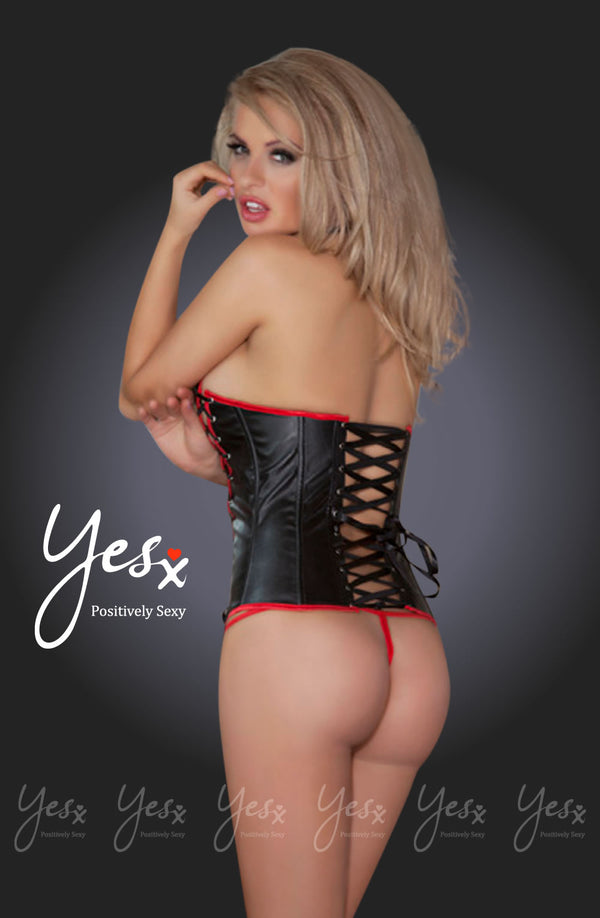Lace-Up Front & Back Corset With Adjustable Halter & Matching Thong by Yesx only  at girls.co.uk