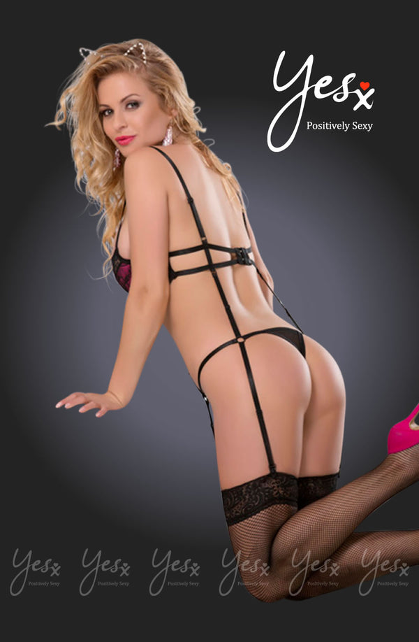 Stunning Teddy with attached suspender design + Matching Stockings & Hairpin!