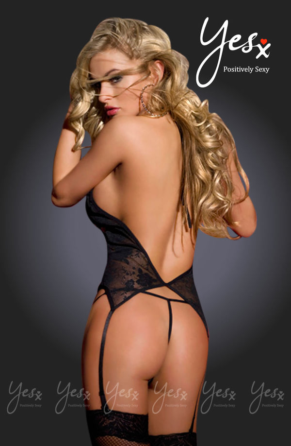 3 Piece Set - Crotchless Chemise With Attached Suspenders, Matching Thong & Stockings
