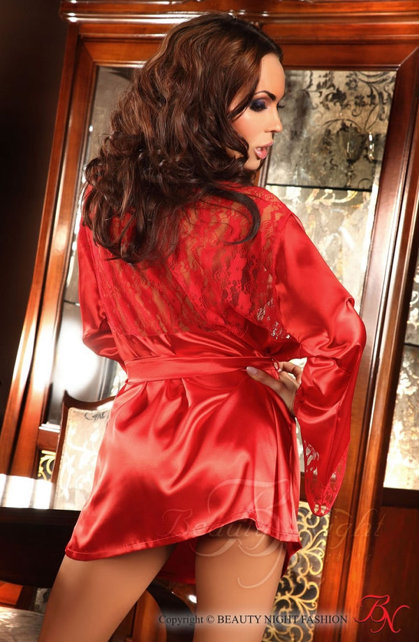 Short Red Satin Robe With Lace Panels by Beauty Night only  at girls.co.uk