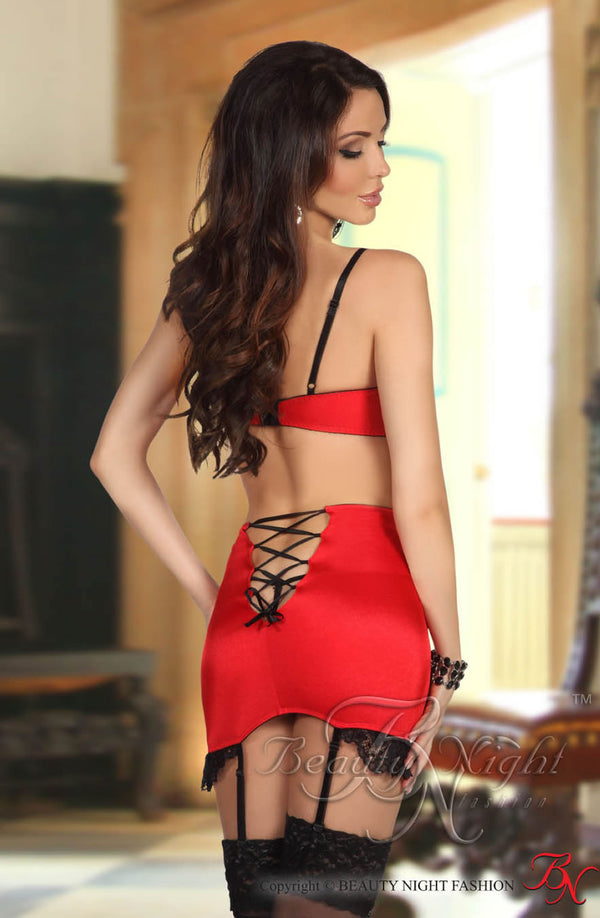 Red Bra & Suspender Skirt With Black Lace by Beauty Night only 44.99 at girls.co.uk