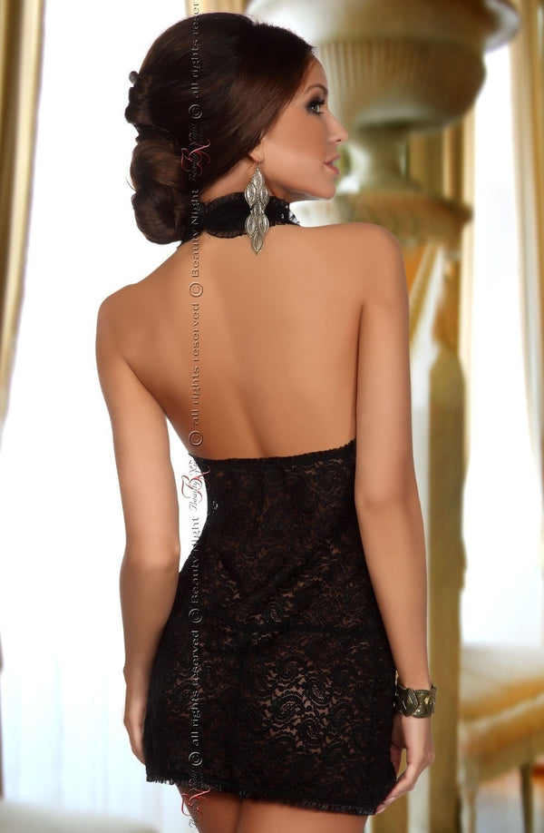 Stunning Black Lace Halter Neck Mini Dress