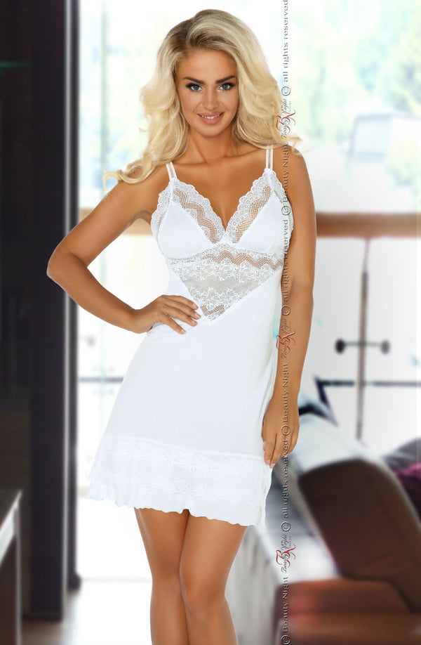White Chemise With Gorgeous Scalloped Lace by Beauty Night only 74.99 at girls.co.uk