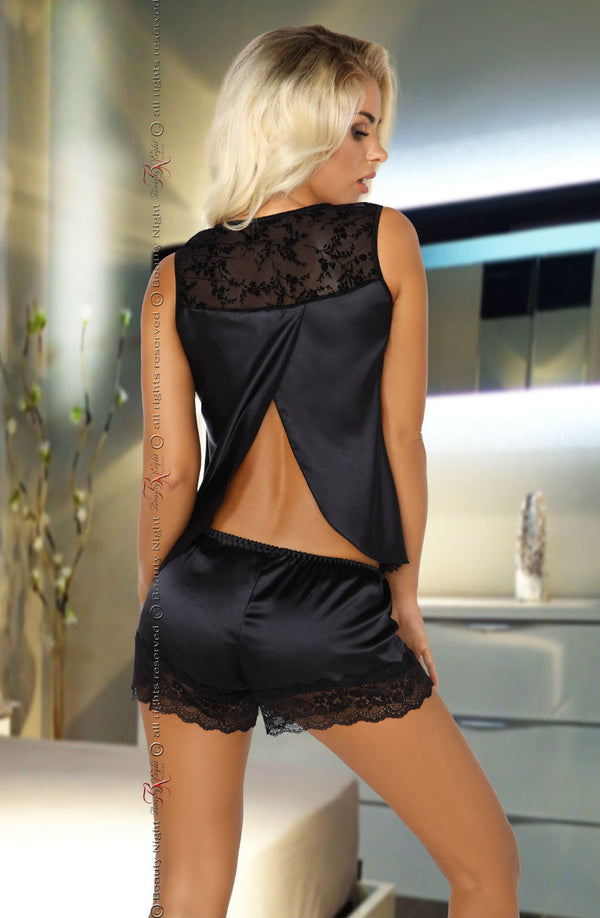 2 Piece Black Satin Camisole & Shorts Set With Lace by Beauty Night only 67.99 at girls.co.uk