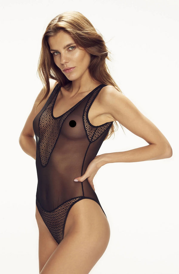 Black Revealing Body With Contrasting Panel Inserts by Confidante only 97.99 at girls.co.uk
