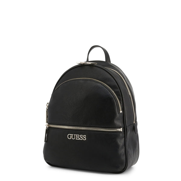 Black Leather Backpack With Branded Logo Design by Guess only  at girls.co.uk