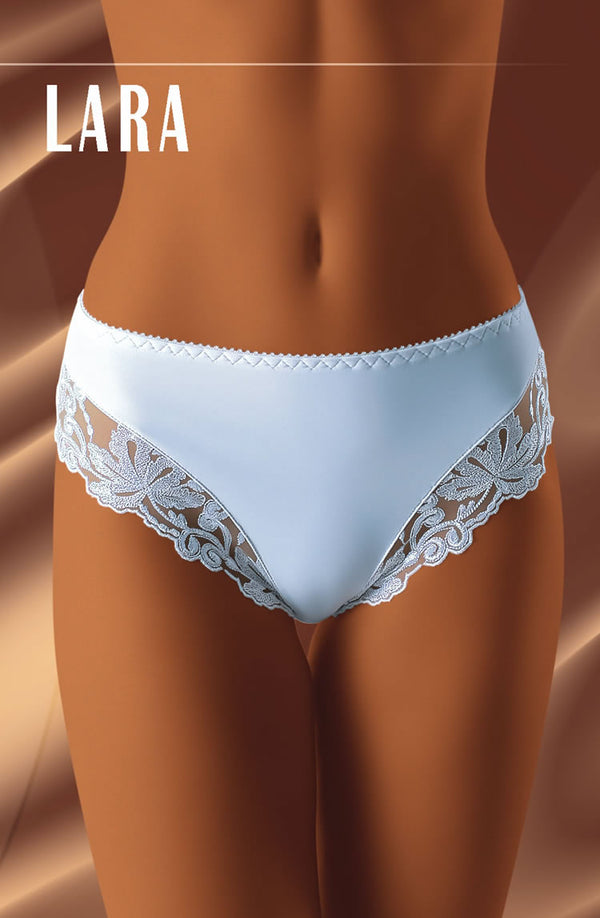 Comfortable Brief With Embroidered Lace Panelled Lower Sides by Wolbar only 17.99 at girls.co.uk
