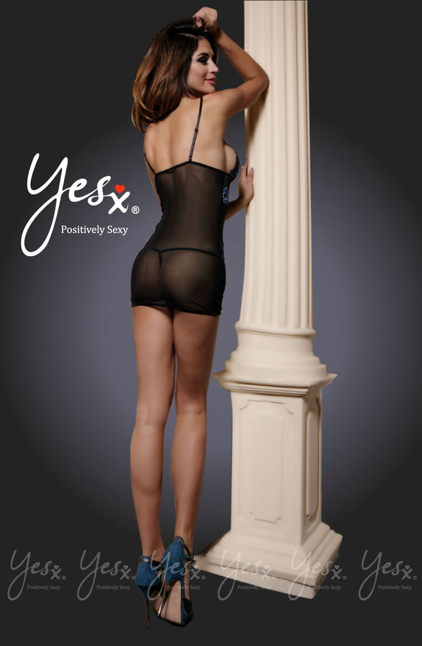 2 Piece Set - Mesh & Lace Chemise With Light Blue Embelishments + Matching Thong by Yesx only 44.99 at girls.co.uk