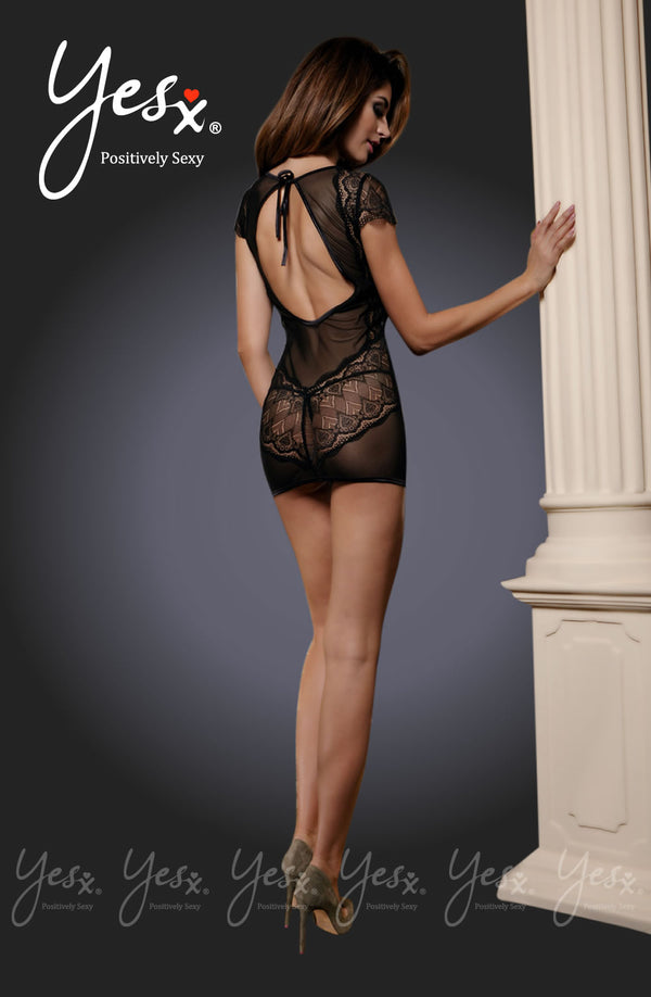 2 Piece Set - Delicate Design Chemise With Rhinestone Neck Details + Matching Thong by Yesx only  at girls.co.uk
