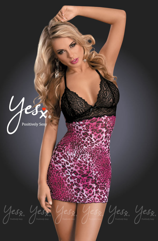2 Piece Set - Pink Leopard Print & Black Laced Chemise With Matching Thong