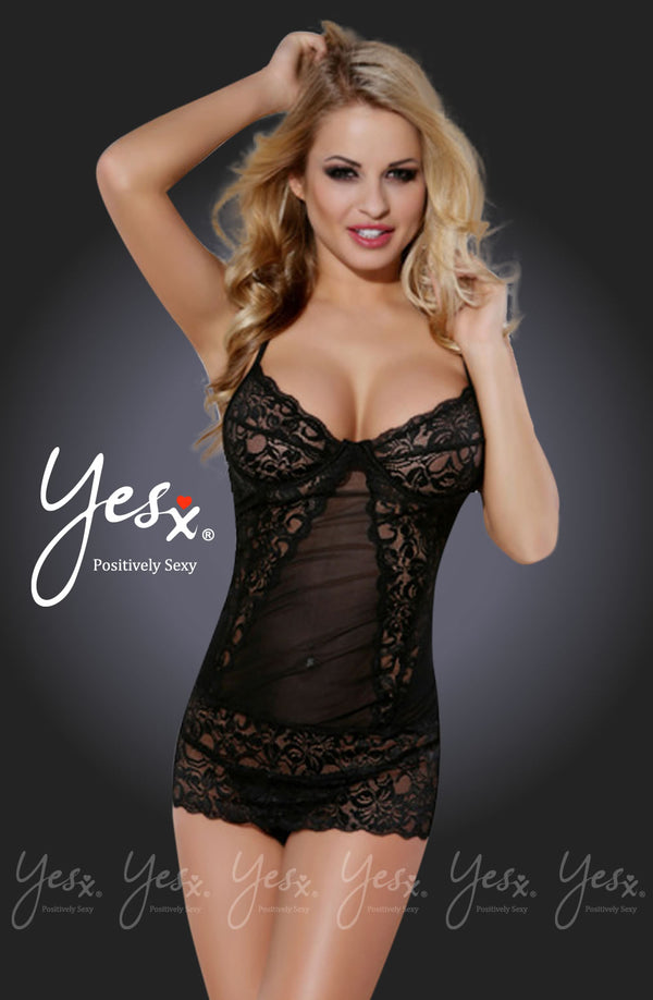 2 Piece Set - Mesh & Lace Chemise & Thong by Yesx only 59.99 at girls.co.uk