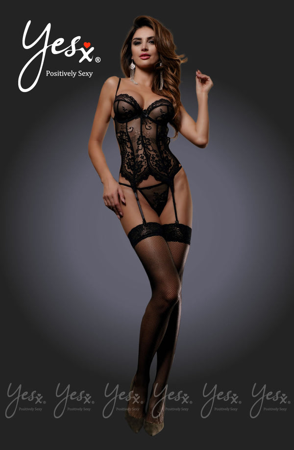 3 Piece Set - Corset Effect Chemise With Harness Back & Suspenders + Matching Thong & Stockings
