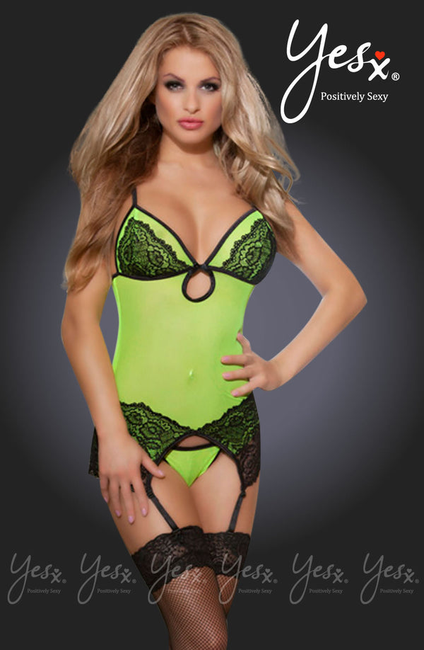 3 Piece Set - Yellow Mesh & Black Lace Chemise With Suspenders + Matching Thong & Stockings! by Yesx only 59.99 at girls.co.uk