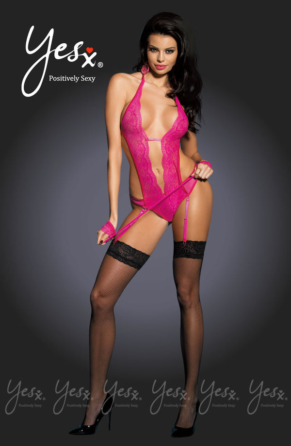 3 Piece Set - Open Fronted Hot Pink Teddy With Suspender Belt Design + Black Stockings & Matching Pink Handcuffs