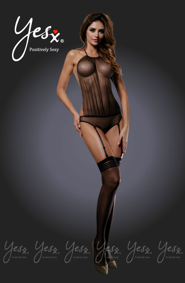 2 Piece Set - Backless Sheer Mesh Teddy With Suspenders & Matching Stockings