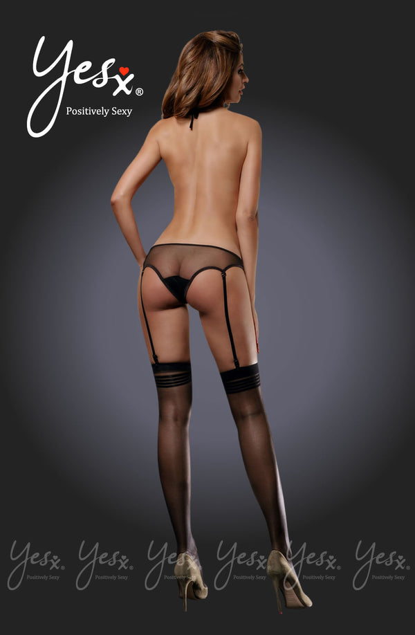 2 Piece Set - Backless Sheer Mesh Teddy With Suspenders & Matching Stockings by Yesx only  at girls.co.uk