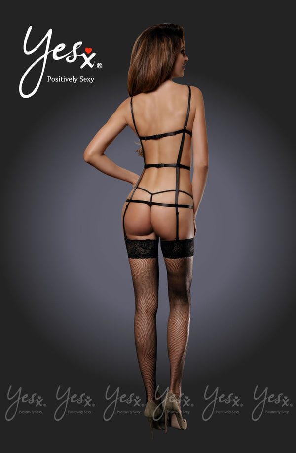 3 Piece Set - Full Harness Effect Teddy With Floral Lace Bra Design & Suspenders + Matching Thong & Stockings