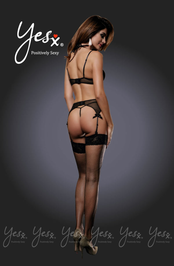 4 Piece Set - Double Layered Cage & Mesh Bra Design + Suspender Belt With Exceptional Detail & Matching G-string & Stockings