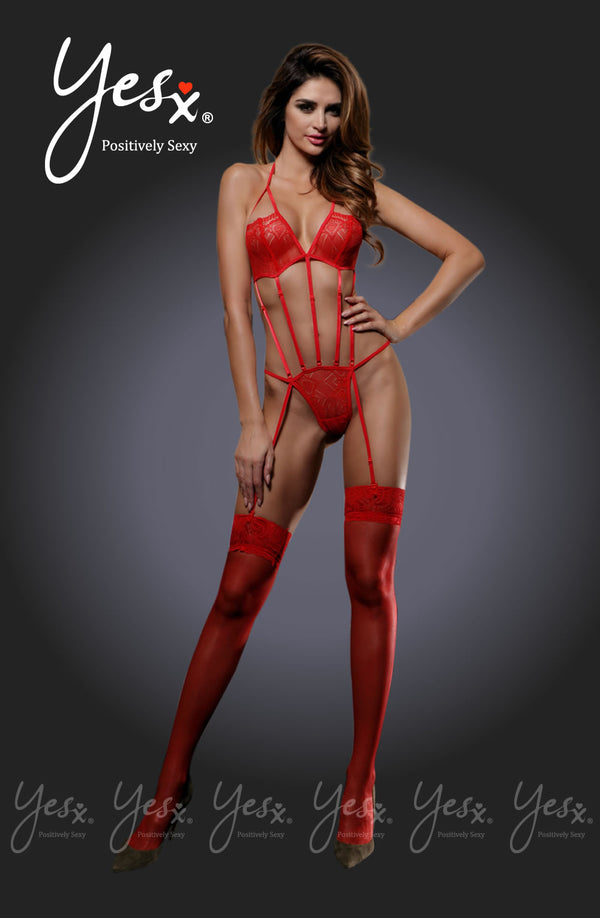 2 Piece Set - Harness Effect Fully Adjustable Teddy With Suspender Design & Matching Stockings