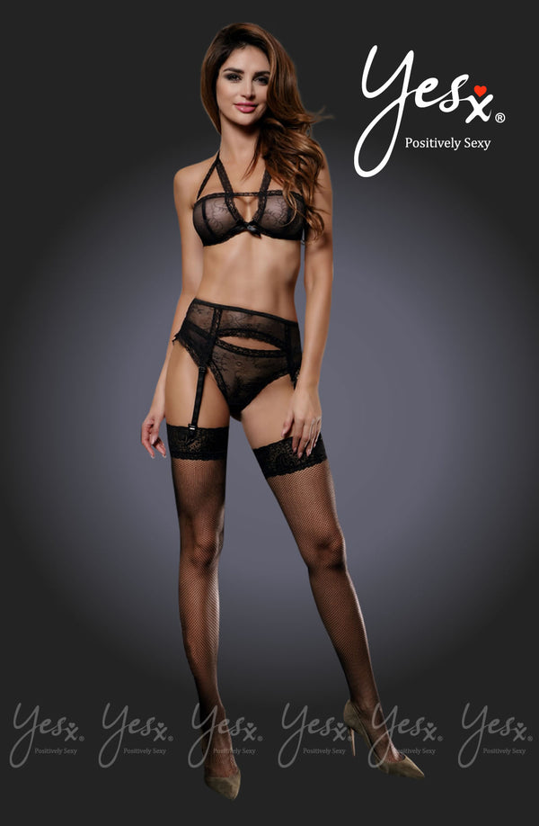 4 Piece Set - Lace Bra, Suspender Belt, Stockings & Matching Thong