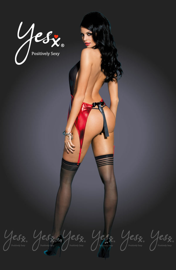 3 piece Set - Black/Red Chemise + Matching Thong & Stockings by Yesx only  at girls.co.uk