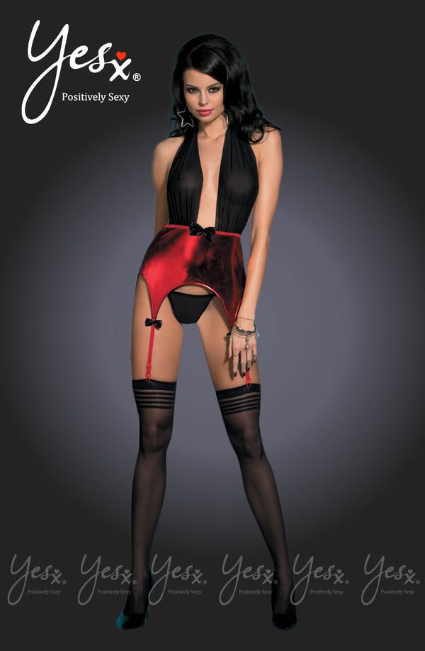 3 piece Set - Black/Red Chemise + Matching Thong & Stockings