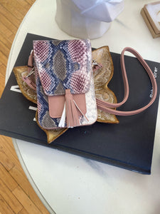 Harper Crossbody - Blush/Teal Snakeskin