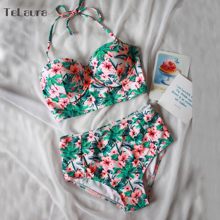 Sexy Floral Print High Waist Swimsuit 2017 Bikini Push Up Vintage