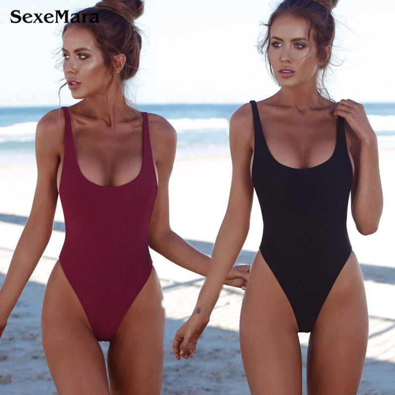 Thong Black 2018 Sexy One Piece Swimsuit Solid Female