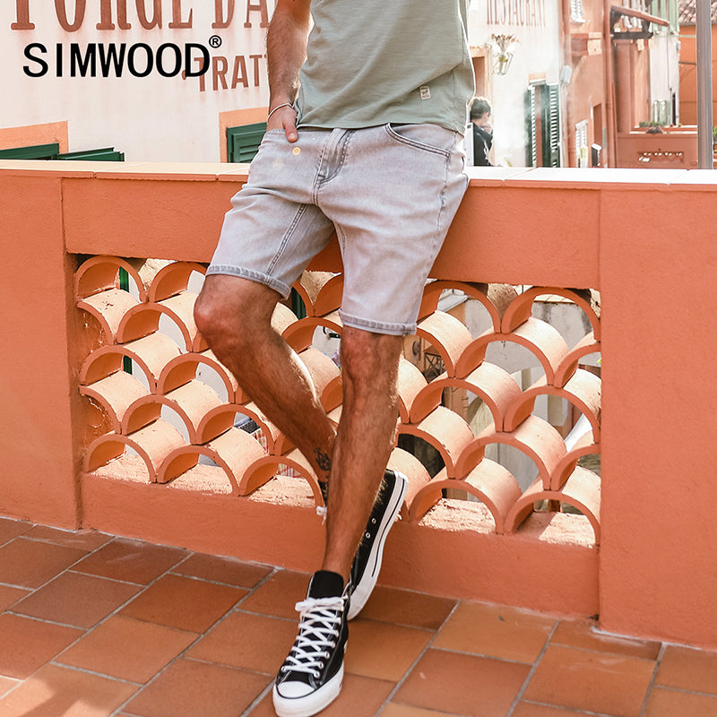 SIMWOOD 2018 Summer New Denim Shorts Men Slim Fit Male  Jeans Men Vintage High Quality Plus Size Brand Clothing 180076