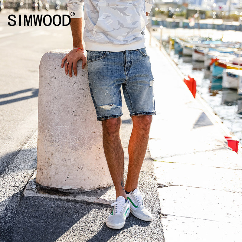 SIMWOOD 2018 Spring Summer Men Denim Shorts Jeans Fashion Casual Knee Length Cotton Brand Clothing Hole Jeans Shorts 180128