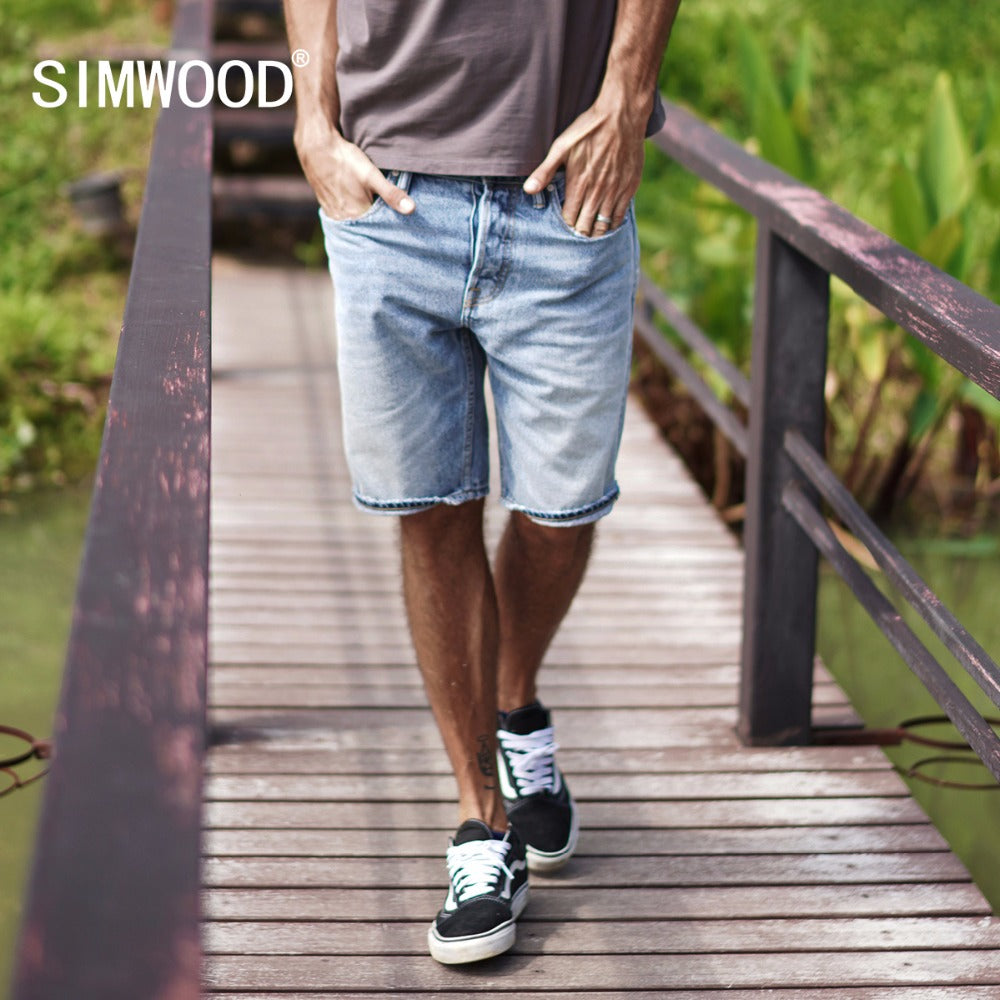 SIMWOOD 2018 Summer New Selvage Denim Shorts Fashion Ripped Knee Length Jeans