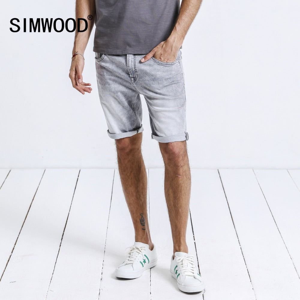 SIMWOOD 2018 Summer New Denim Shorts Slim Fit Men Clothes Brand Clothing Knee Length Plus Size High Quality 180197