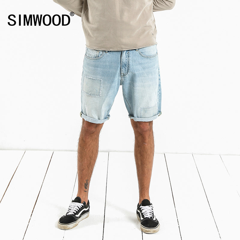 SIMWOOD 2018 Summer New Denim Shorts Men Fashion Patchwork Knee Length Ripped Repair Jeans  Fashion Slim Fit High Quality 180072