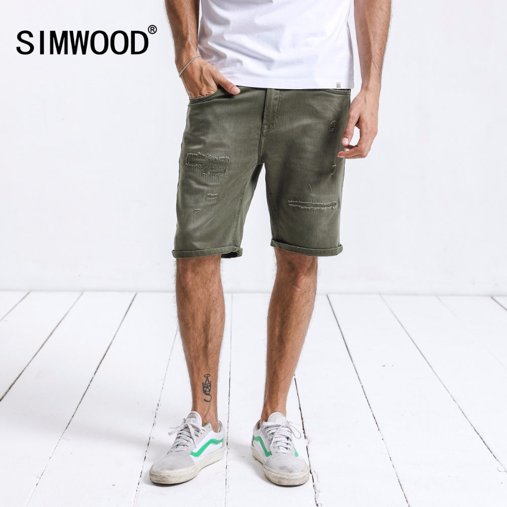 SIMWOOD Brand Denim Shorts Male New 2018 Ripped Jeans Slim Fit