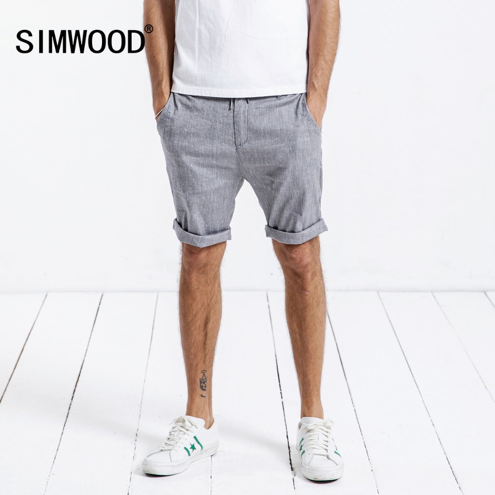 SIMWOOD Thin Casual Shorts Men Linen Cotton 2018 Summer New Shorts Slim Fit Drawstring Plus Size Brand Clothing 180310