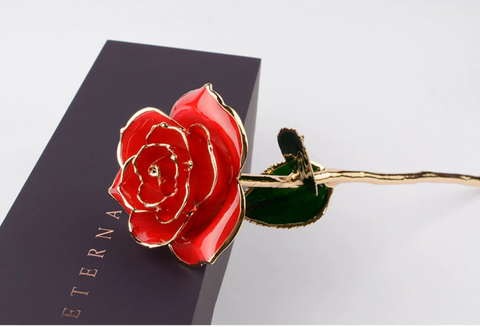 Gold Plated Preserved Rose by Craftsman with Box