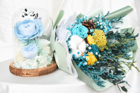 Preserved Flower Dome and Bouquet