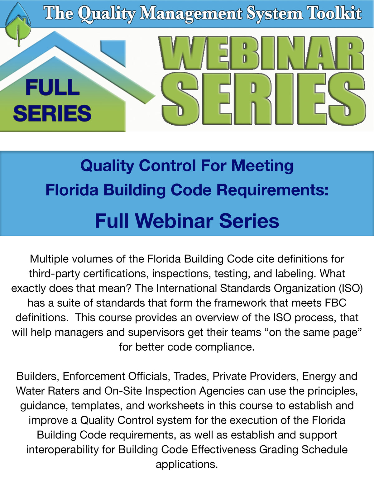 The Quality Management System Toolkit: Full Webinar Series