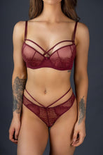 Load image into Gallery viewer, Burgundy Double Strap Lace Bra