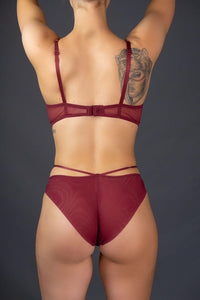 Burgundy Double Strap Lace Bra