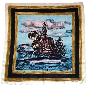 1950s Lanvin Blue Silk Scarf Designed by Antonio Castillo