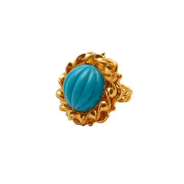 1970s William De Lillo Turquoise Cabochon Ring